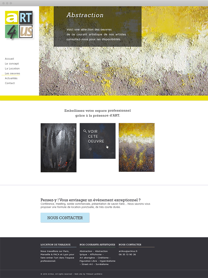 Page d'un courant artistique - Art4us