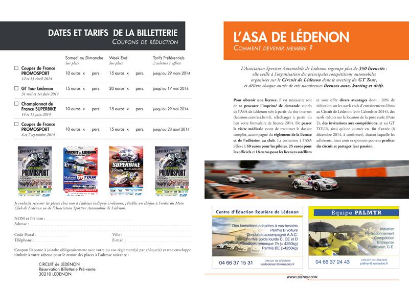 Billeterie / ASA - Programme Circuit de Lédenon