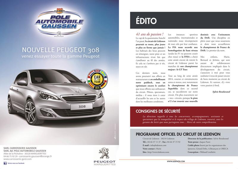 Edito - Programme 2014 Circuit de Lédenon