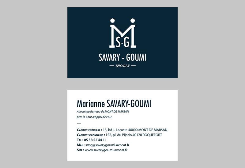 Cartes de visite - Savary-Goumi Avocat